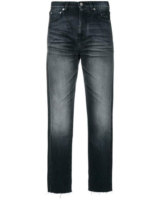 Saint Laurent - Black Cropped Jeans With Raw Edge - Lyst