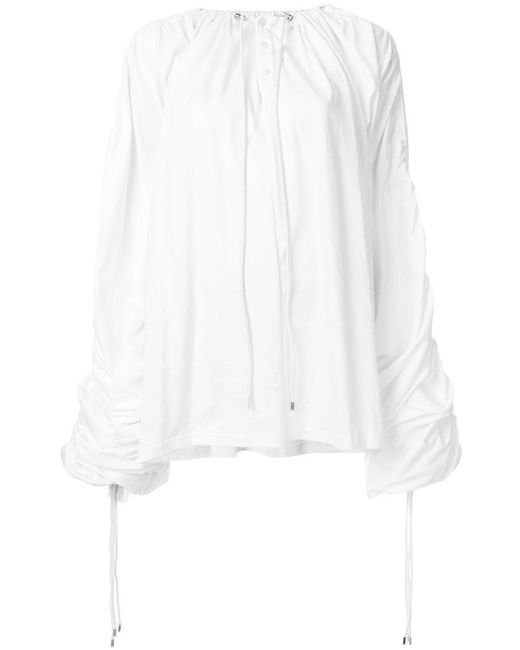 Y. Project - White Drawstring Draped Top - Lyst