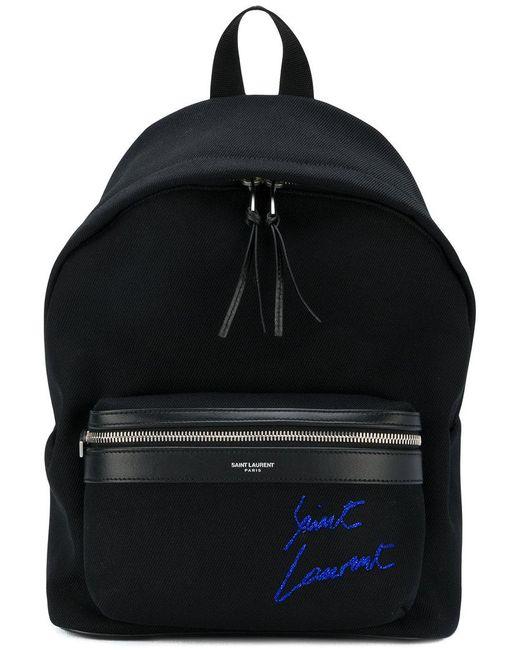 Saint Laurent - Black Mini City Embroidered Backpack - Lyst