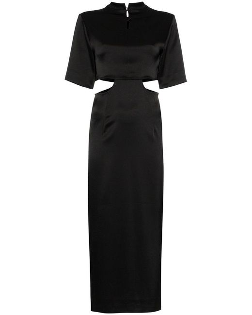 Nanushka - Black Bhumi Satin Cutout Midi Dress - Lyst