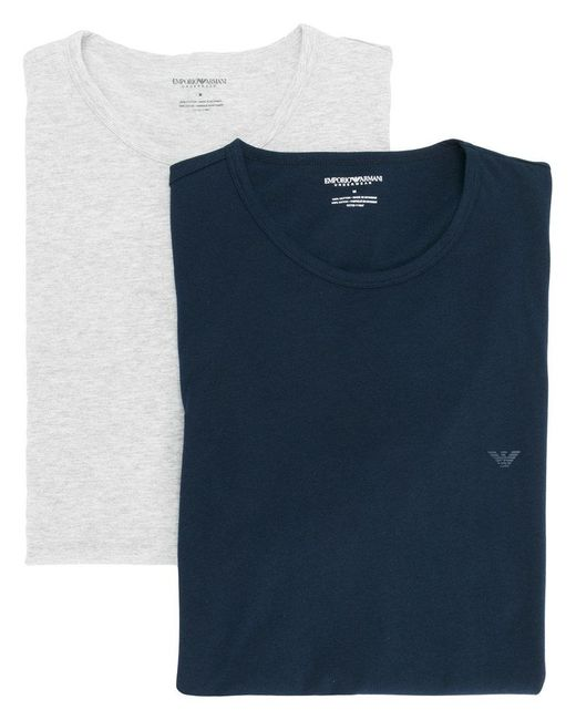 Emporio Armani | Blue Logo Detail T-shirt for Men | Lyst