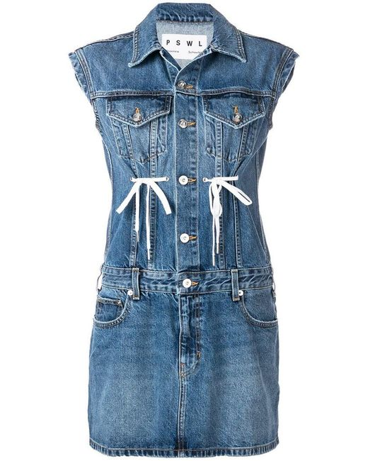 746897214ee544 Proenza Schouler - Blue Button-down Sleeveless Rigid Denim Dress W   Drawstring Detail ...