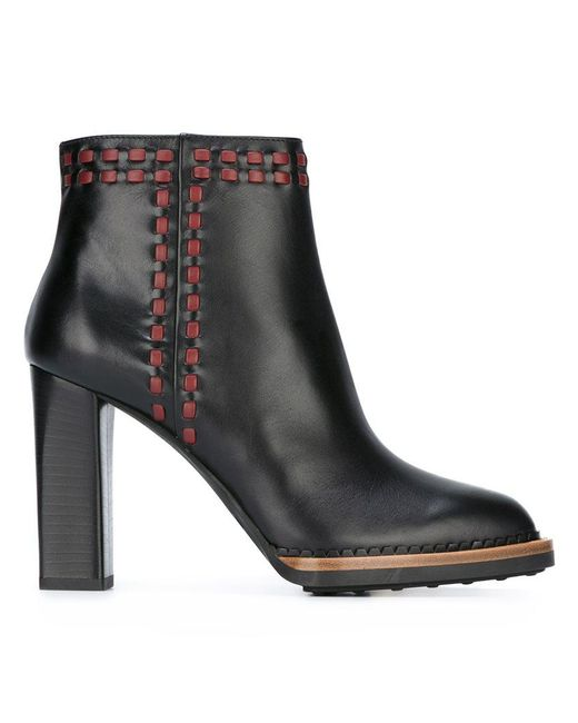 Tod's | Natural Stitched Leather Ankle Boots | Lyst