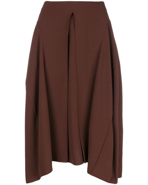 Chloé - Brown Pleated Front Midi Skirt - Lyst