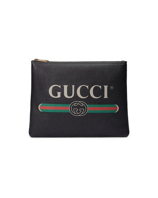 Gucci - Black Print Leather Medium Portfolio - Lyst