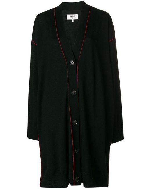 MM6 by Maison Martin Margiela - Black Contrast Stitch Oversized Cardi-coat - Lyst