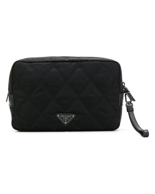Prada   Black Quilted Wash Bag   Lyst