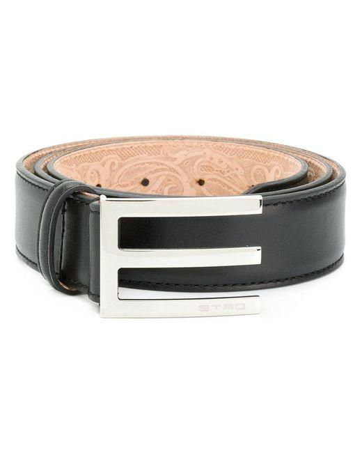 Etro - Black Asymmetric Buckle Belt for Men - Lyst