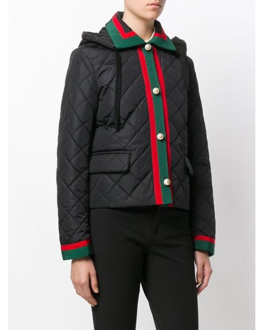 Lyst - Gucci Web Trim Quilted Jacket in Black : gucci quilted jacket - Adamdwight.com