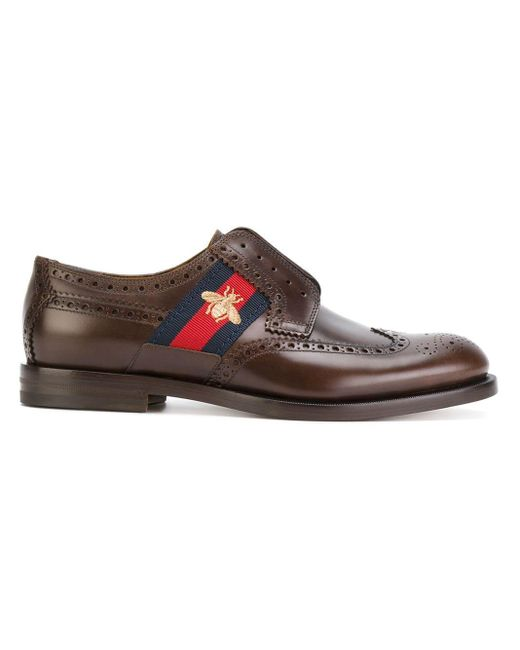 cb7f706bb Gucci - Brown Bee GG Web Trim Brogues for Men - Lyst ...