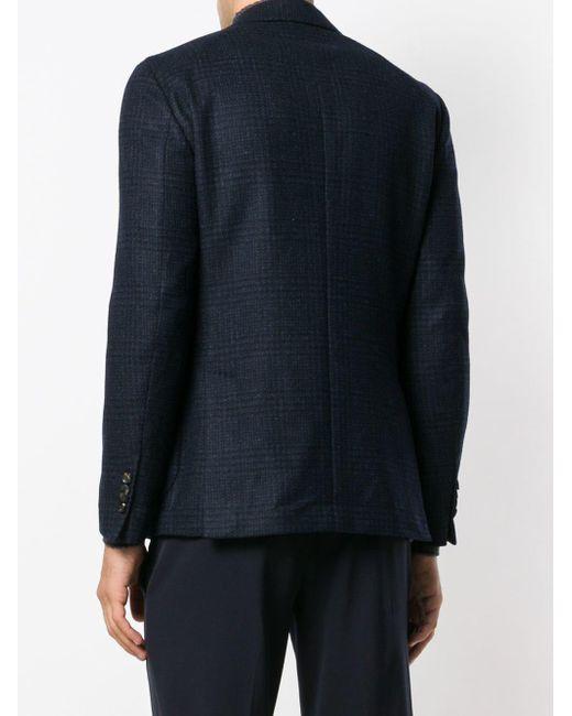 4b5c1ca3d1930d ... Lardini - Blue Double-breasted Check Blazer for Men - Lyst