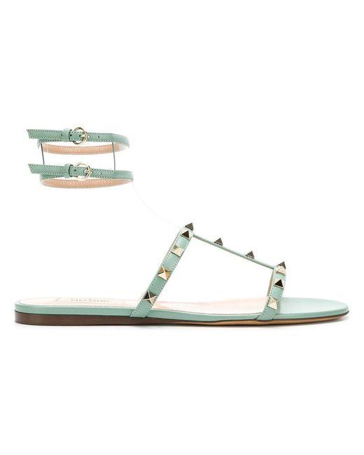 Valentino - Green Garavani Moonwalk Rockstud Sandals - Lyst