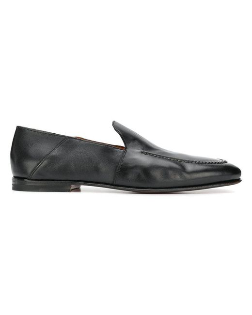 stitch detail loafers - Black Santoni