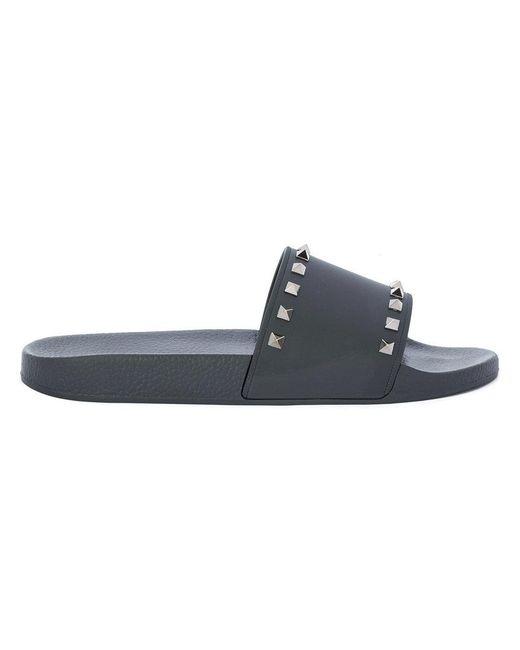 Valentino - Black Rockstud Pool Slides for Men - Lyst