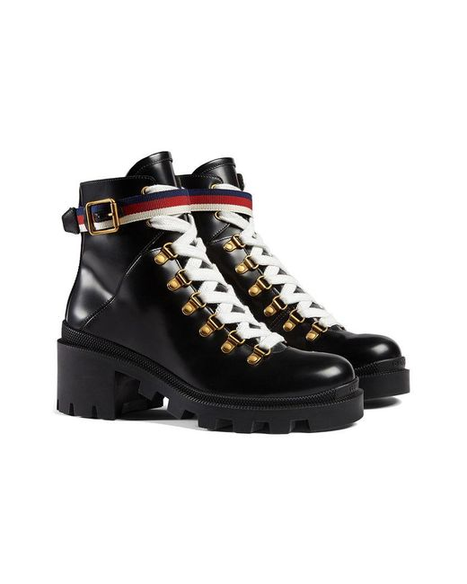 Gucci - Black Leather Ankle Boot With Sylvie Web - Lyst