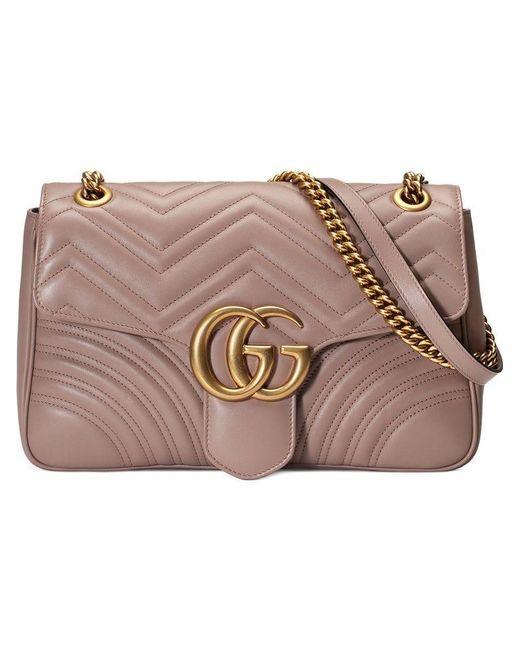 7be8a64e9b3 Gucci - Pink GG Marmont Medium Matelassé Shoulder Bag - Lyst ...