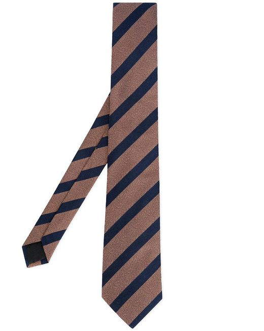 Cerruti 1881 - Brown Striped Tie for Men - Lyst
