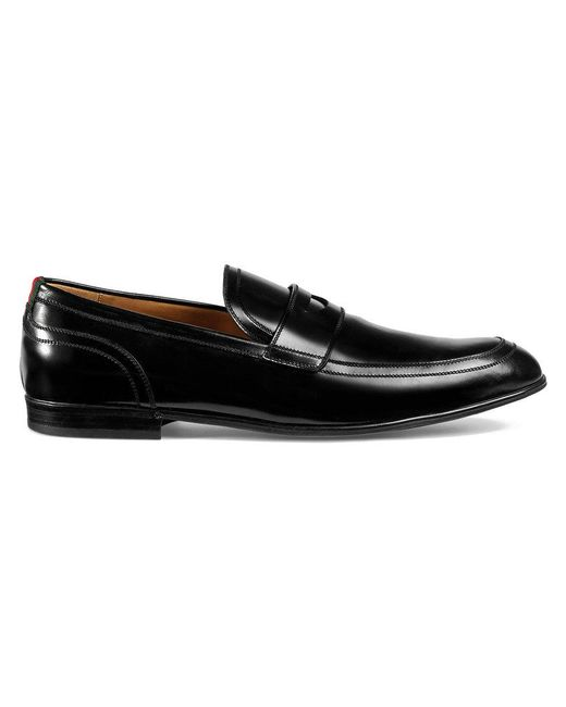 0b10b45fc1e Gucci - Black Leather Loafer With Web for Men - Lyst ...