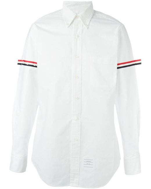 Lyst thom browne striped sleeve shirt in white for men for Thom browne white shirt