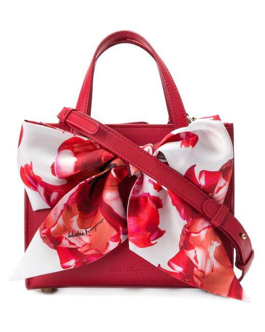 Ferragamo - Red Oversized Ribbon Front Shoulder Bag - Lyst