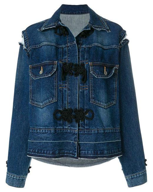 Sacai distressed detail denim jacket Geniue Stockist Sale Online Buy Cheap Popular Prices For Sale High Quality XP6P0Q5