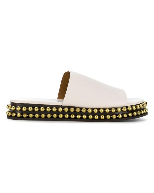 Chloé - White Sawyer Studded Leather Platform Slides - Lyst