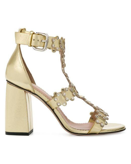 RED Valentino - Metallic Red(v) Ankle Strap Sandals - Lyst