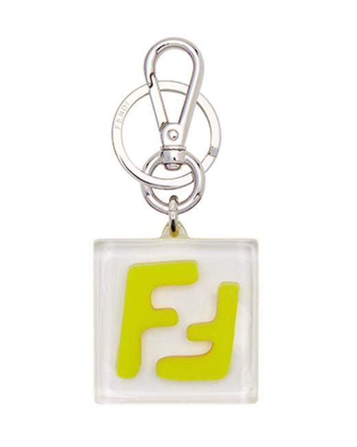 Fendi Metallic Square Logo Key Ring for men