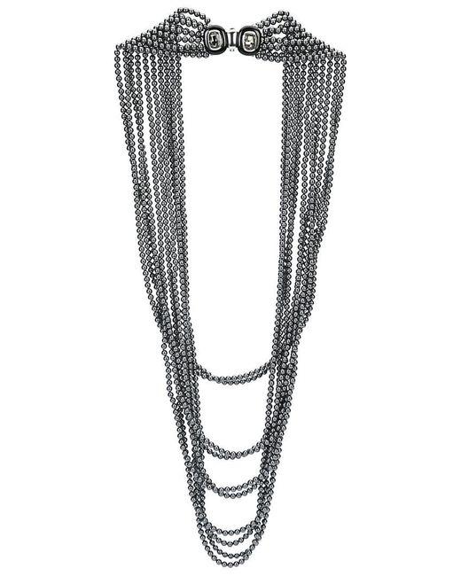 Oscar de la Renta   Gray Multi Strand Pearl Necklace   Lyst