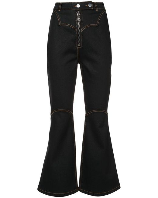 Ellery - Black Flared Overstitch Jeans - Lyst