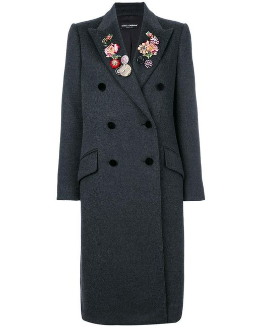 Dolce & Gabbana | Gray Floral And Gem Detailed Double Breasted Coat | Lyst