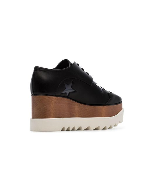 ef1012ef5f7 ... Stella McCartney - Black Elyse 80 Faux Leather Star Embellished Flatform  Brogues - Lyst