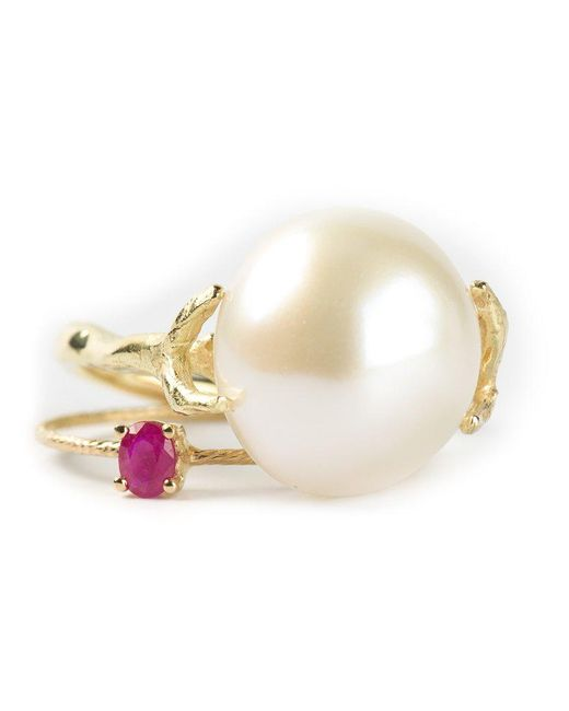 Wouters & Hendrix | Metallic Pearl & Ruby Set Of Rings | Lyst