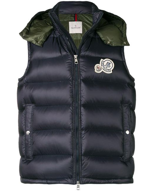 8ec31cac60bc Moncler Padded Hood Gilet in Blue for Men - Lyst