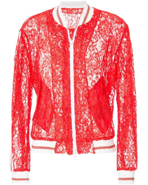 Ainea - Red Lace Bomber Jacket - Lyst
