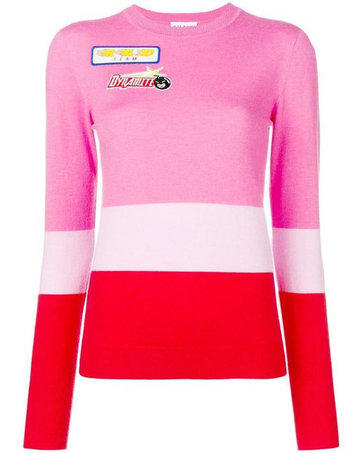 MIRA MIKATI - Pink Colour-block Knitted Top - Lyst