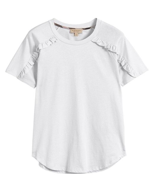 Burberry - White Ruffle Detail T-shirt - Lyst