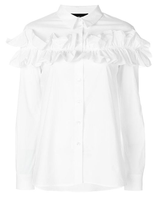 Boutique Moschino | White Long Sleeved Ruffle Shirt | Lyst