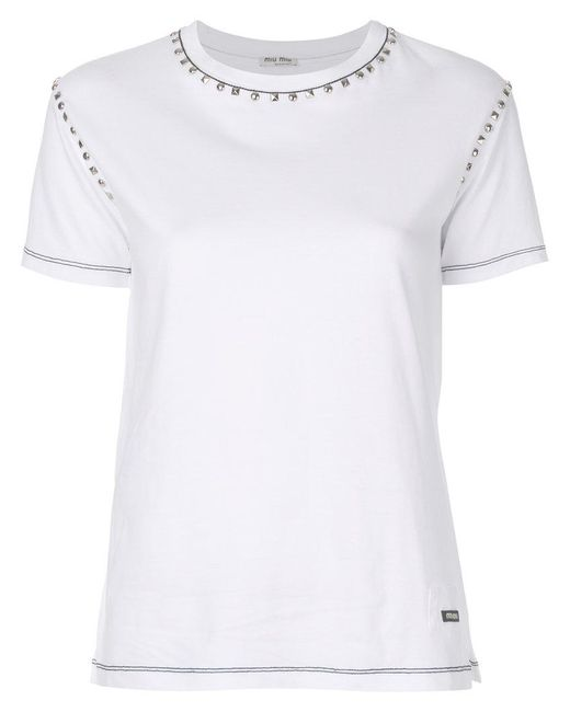 Miu miu studded t shirt in white lyst for Miu miu t shirt