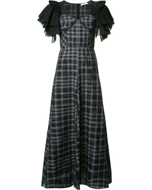 TOME | Black Long Ruffle Sleeve Dress | Lyst
