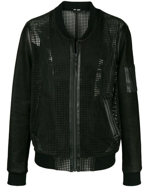 BLK DNM - Black Collarless Leather Mesh-like Jacket for Men - Lyst