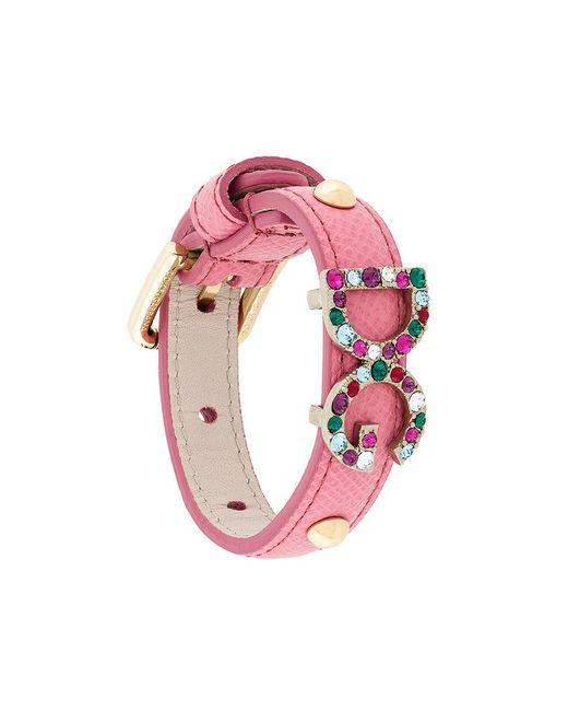 Dolce & Gabbana | Pink Dg Crystal Detail Bracelet | Lyst