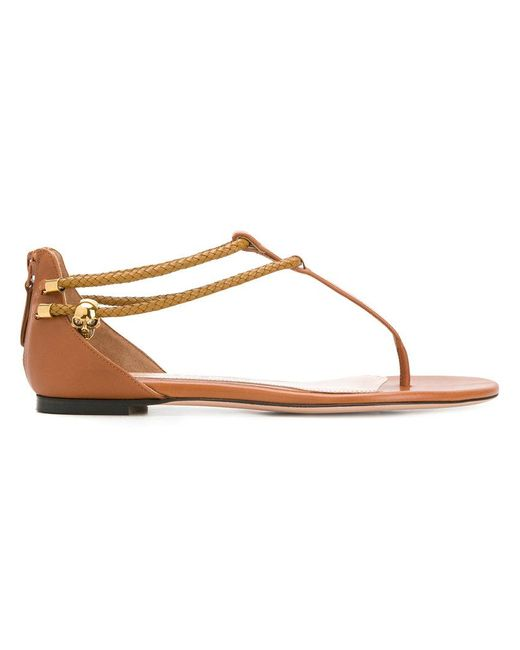 Alexander McQueen - Brown Zipped Styled Flat Sandals - Lyst