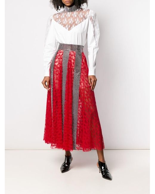 74bd1747fc Christopher Kane Crystal Lace Maxi Skirt in Red - Save 40% - Lyst