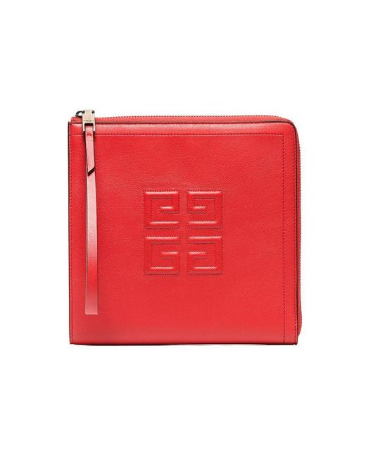 Givenchy - Red Iconic Leather Wristlet Pouch - Lyst
