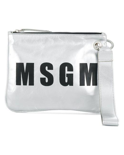 MSGM - Metallic Logo Clutch - Lyst