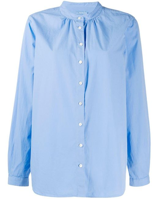 Closed Blue Band Collar Button Shirt