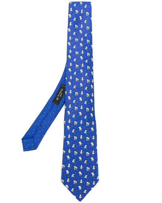 Etro - Blue Elephant Patterned Tie for Men - Lyst