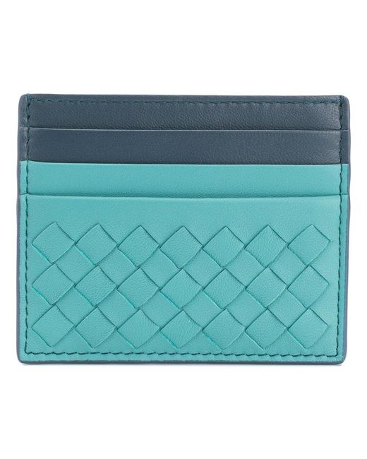 Bottega Veneta - Green Aqua Intrecciato Nappa Card Case - Lyst