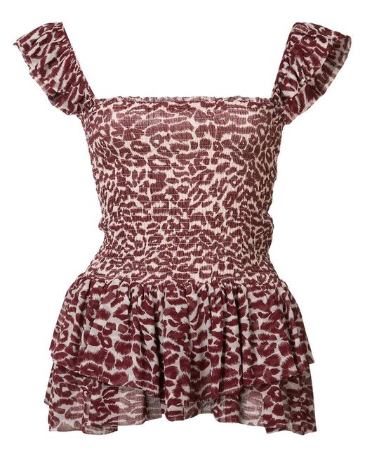 Piamita - Red Leopard Print Top - Lyst